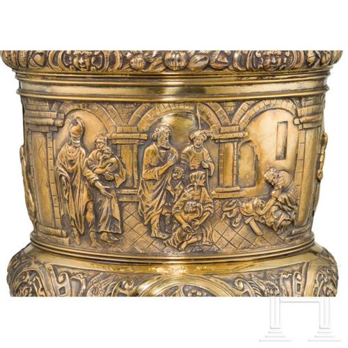 A monumental German lidded vermeil trophy cup, 2nd half of the 19th century Appl…