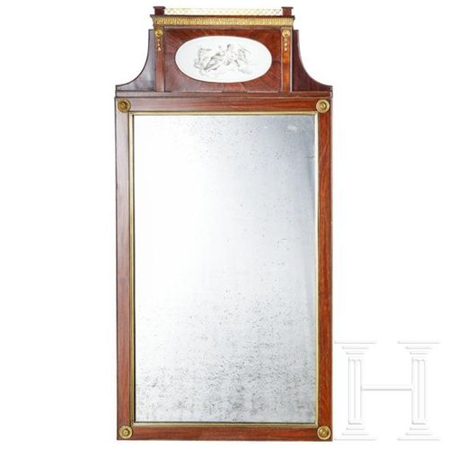An elegant neoclassical mirror with fine porcelain painting, Berlin, circa1800 H…