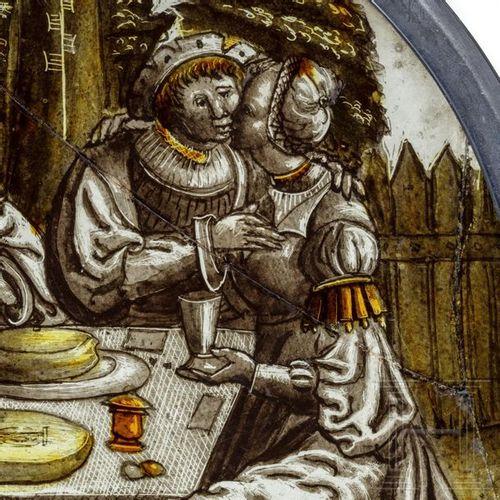"""Roundel """"Der verlorene Sohn beim Feiern mit den Huren"""", Niederlande, um 1520/30 …"""