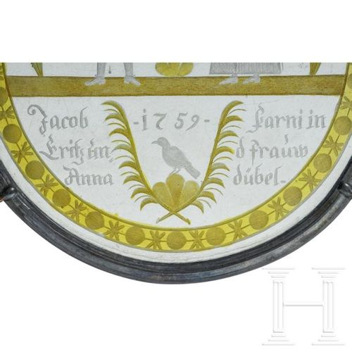 Schliffscheibe des Jacob Farni, Schweiz, datiert 1759 Vitre ovale en verre clair…