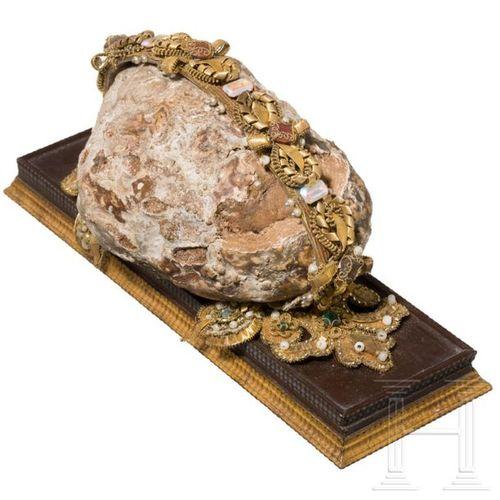 A German bezoar stone, 19th century Pierre de bézoard (gastrolite) de forme irré…