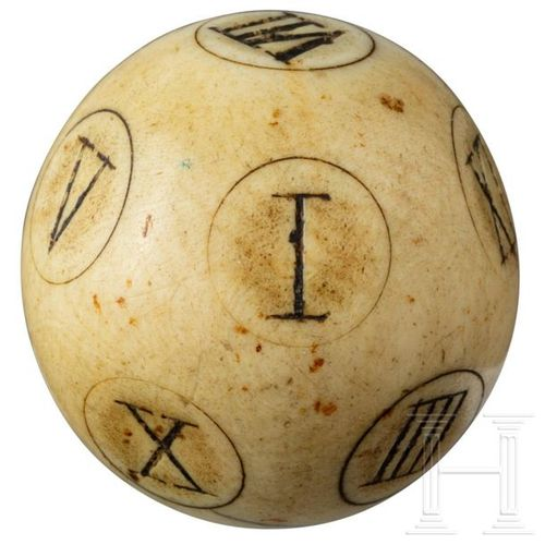 A rare English Baroque ivory teetotum puzzle ball with Roman numbers from I to X…
