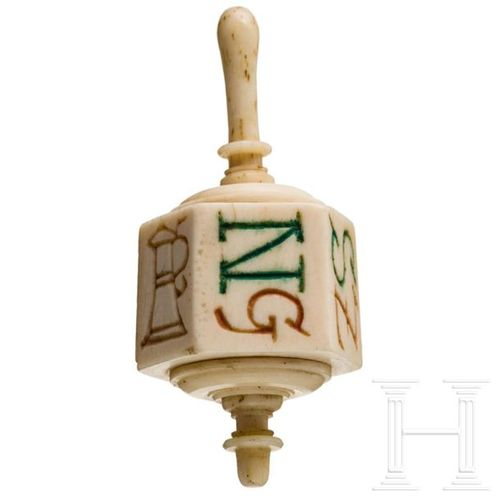 A German engraved ivory spinning top with symbols and letters, 18th/19th century…
