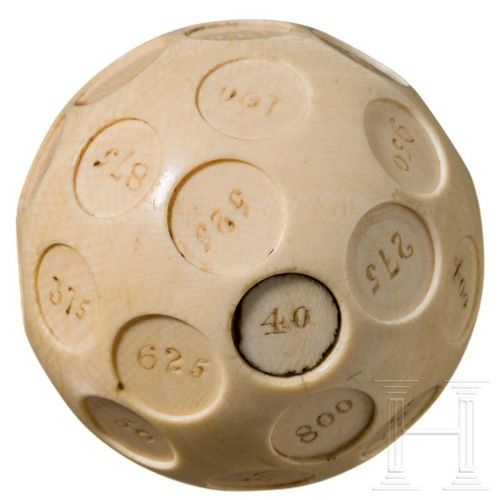 """A large probably English ivory """"puzzle"""" ball with Arabic numbers from 1 to 1000,…"""