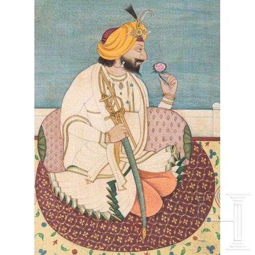 A miniature painting of Gulab Singh, maharajah of Kashmir, India, Jammu, circa 1…
