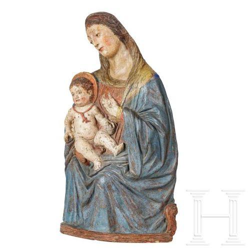 A rare Sicilian Renaissance Madonna and Child, known as a Nursing Madonna, 16th …