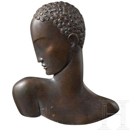 Afrikanische Schönheit Bronze, Wien, um 1920/30 Bronze, patiné. Bas relief avec …