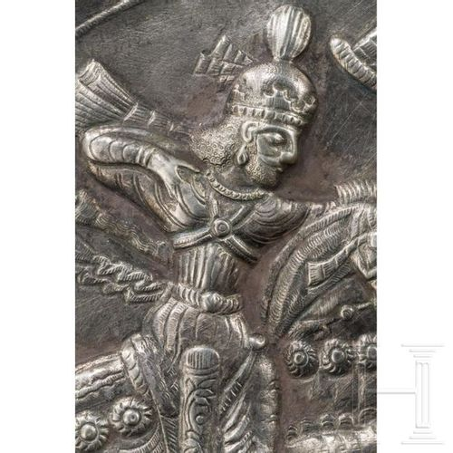 A royal Sasanian silver plate with a depiction of the hunting Shapur II, Iran, 4…