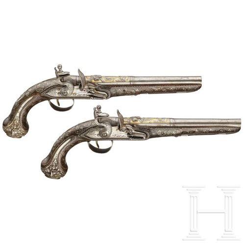 A pair of Ottoman silver mounted deluxe flintlock pistols, circa 1820 Canons ron…