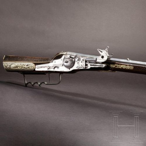 A military wheel lock rifle by Balthasar Dressler in Dresden, dated 1596 Canon o…
