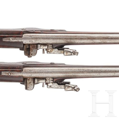A pair of North German or Flemish military wheellock pistols, circa 1650 Canons …