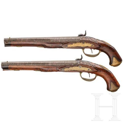A pair of percussion pistols by Johann Christoph Kuchenreuter, Steinweg near Reg…