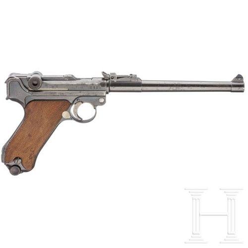 Lange Pistole 08, DWM 1917, mit nummerngleichem Brett und Tasche Cal. 9mm Luger,…