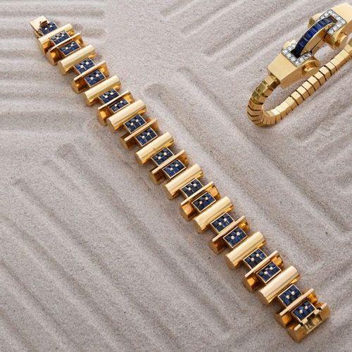 Bracelet «tank» en or jaune 750e, les maillons de forme cylindrique alternés de …
