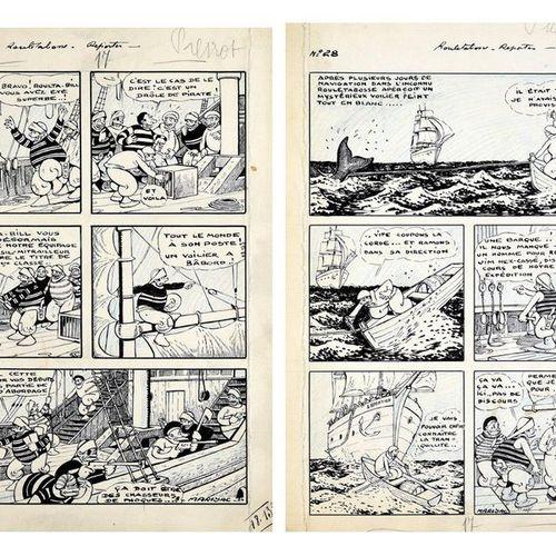 MARIJAC (Jacques Dumas / 1908 1994) ROULETABOSSE, REPORTER. Un ensemble de 12 pl…