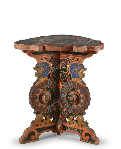PAINTED WOODEN TABOURET. Resting on a tripod base carved with birds and polychro…