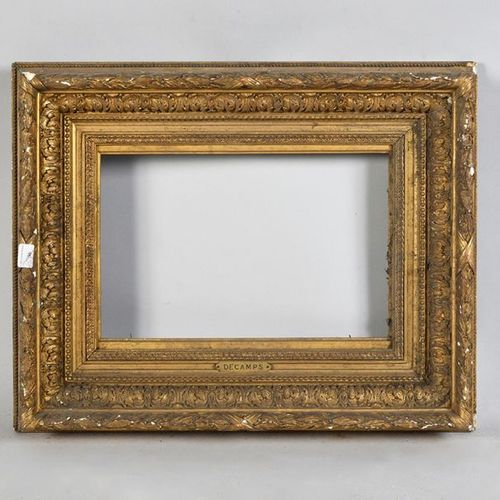 Gilded wood and stucco frame, 19th century. Carries a Decamps cartouche. 21 x 31…