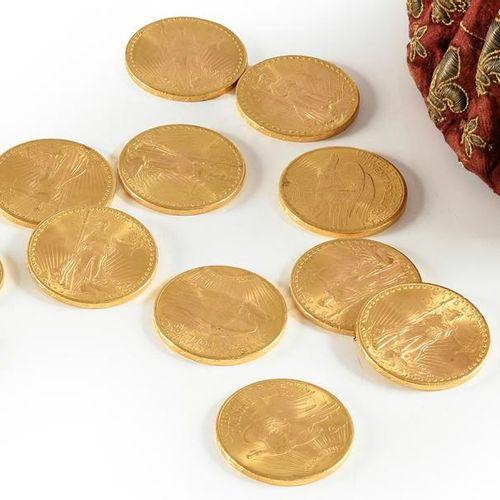 Dix pièces de 20 dollars en or 900 millièmes, années 1927. Poids: 334.28grs