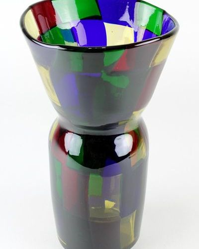 Murano glass vase Pezzato, cylindrical glass body with funnel shaped neck, diffe…