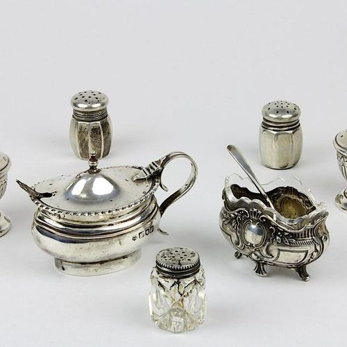 Set of salt and pepper shakers, Saliere and mustard pots, 1st half of the 20th c…