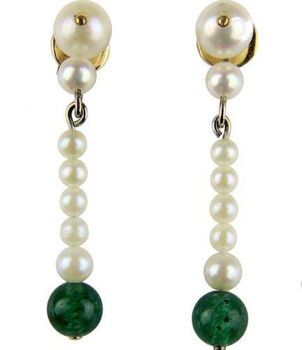 Paire de boucles d'oreilles avec perles et 2 perles d'émeraude, en soie de 585 o…