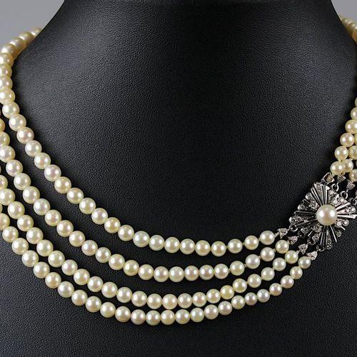 Collier de perles, 4 rangs, avec fermoir en or blanc taille brillant, env. 280 p…