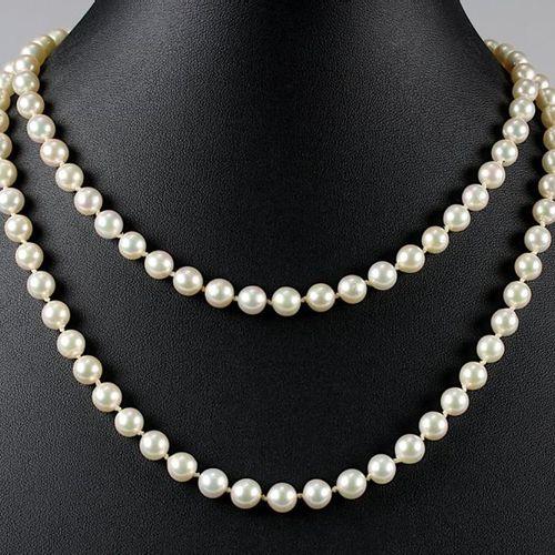 Long collier de perles d'eau salée Akoya, 114 perles nouées, rose légèrement arg…