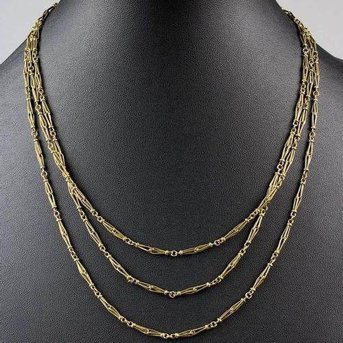 Long collier en or jaune, France vers 1920, or jaune 18 kt, poinçonné avec la ma…