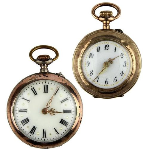 Two ladies' pocket watches, Germany circa 1900, one with gold case, low gold con…