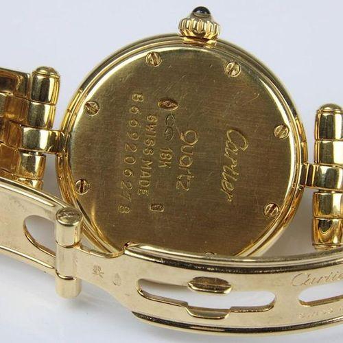 Montre dame Cartier Panthère en or jaune 750, cadran crème avec chiffres romains…