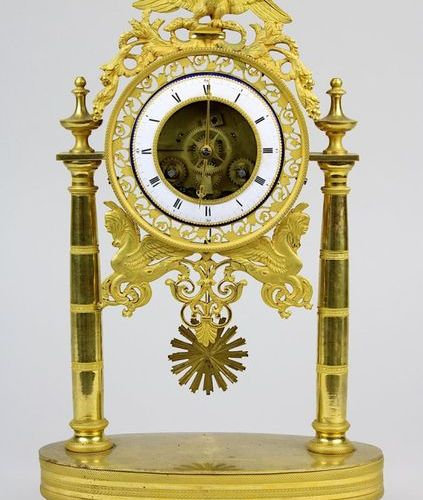 A bronze Directoire column clock, France 1795 1799, pendulum movement with threa…