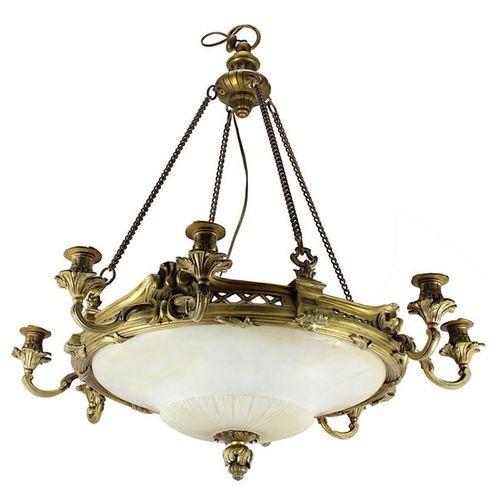 Lampe à suspendre avec abat jour en albâtre, France vers 1900, lourd Napoléon II…