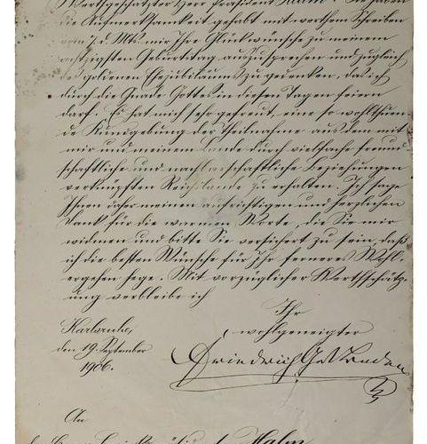 Lettre manuscrite du Grand Duc Frédéric Ier de Bade, Karlsruhe 1906, au présiden…