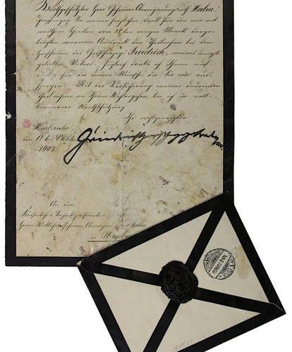Lettre manuscrite du Grand Duc Frédéric II de Bade (1857 1928), Karlsruhe 1907, …