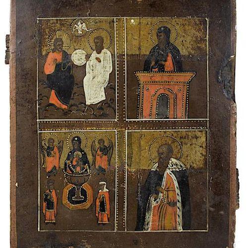 Icône à quatre champs, Russie 2e moitié du XIXe siècle, détrempe sur bois, repré…