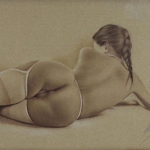 Nude painter, 2nd half of the 20th century, lying female nude on her back, drawi…