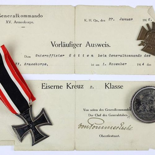 2 Orders and one medal of the WW I: Iron Cross 2nd class on ribbon, with provisi…