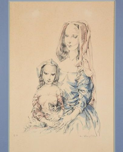TSUGUHARU FOUJITA (1886 1968) Woman and child, 1964 Lithograph printed in colour…
