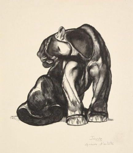 PAUL JOUVE (1878 1973) Black seated Jaguar Original lithograph, black print Arti…