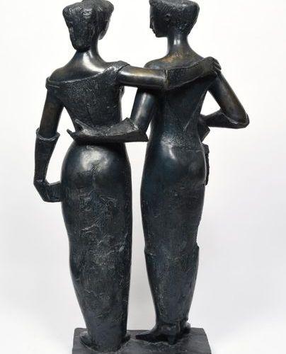 ANTONIUCCI VOLTI (1915 1989) Les Parisiennes, 1962 Bronze print with blue black …