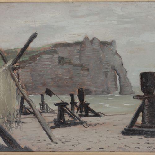 ANDRÉ HAMBOURG (1909 1999)  La falaise d'Aval  Huile sur isorel  Signée et datée…