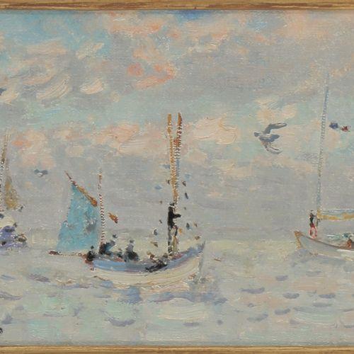 ANDRÉ HAMBOURG (1909 1999)  Beau temps au large, 1976  Huile sur toile  Signée e…
