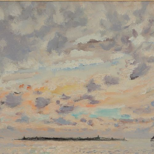 ANDRÉ HAMBOURG (1909 1999)  Vers San Ariano, Venise, Torcello, 1961  Huile sur t…
