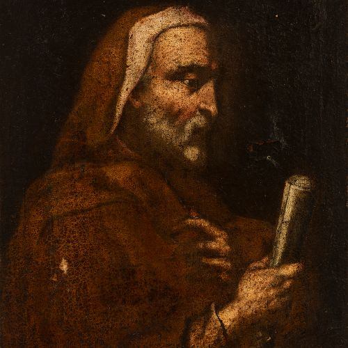 """Spanish school; 17th century. """"Philosopher or prophet"""". Oil on canvas. Relined. …"""