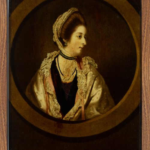 """English school; late 18th century. """"Portrait of a lady. Half colour engraving an…"""