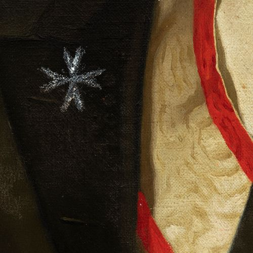 """20th century school. """"Portrait of a knight with the Maltese cross and the order …"""