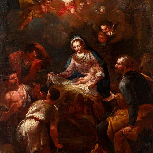 "Italian school; 18th century. ""Adoration of the Shepherds"". Oil on canvas. Relin…"
