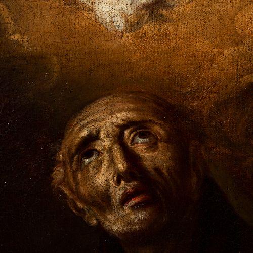 """Spanish school; late 17th century. """"San Pedro de Alcantara"""". Oil on canvas. Reli…"""
