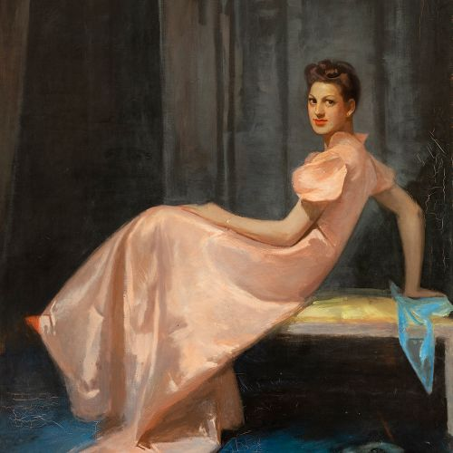 "Spanish school; 20th century. ""Portrait of María Teresa Pérez Rubio. 1939. Oil o…"