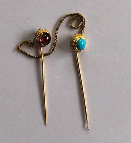 Epingle de cravate double en or jaune 750 millièmes sertie d'une demi perle de t…